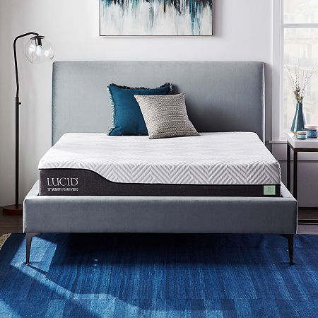 Dream Collection by LUCID 10 Inch Gel and Aloe Hybrid Mattress in a Box, One Size , White