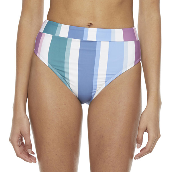 Mynah Womens Striped High Waist Bikini Swimsuit Bottom