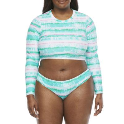 Decree Tie Dye Rash Guard Swimsuit Top Juniors Plus