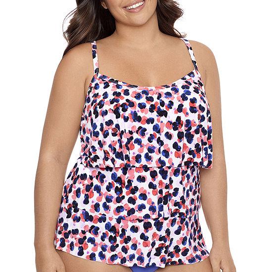 Sonnet Shores Triple Tier Floral Tankini Swimsuit Top Plus