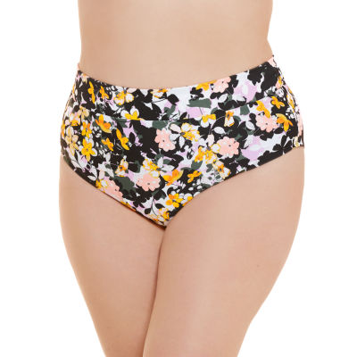 Decree Womens Floral High Waist Bikini Swimsuit Bottom Juniors Plus