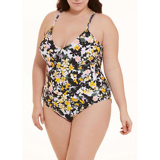 Decree Womens Floral One Piece Swimsuit Juniors Plus