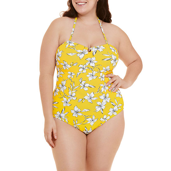 Decree Strappy Back Womens Floral One Piece Swimsuit Juniors Plus
