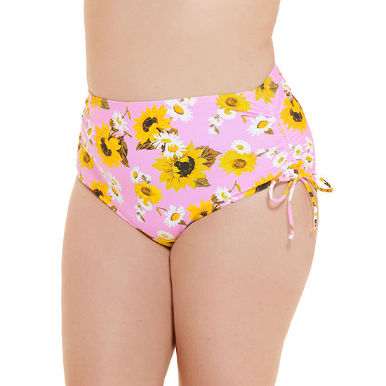 Decree Side Tie Womens Floral High Waist Bikini Swimsuit Bottom Juniors Plus