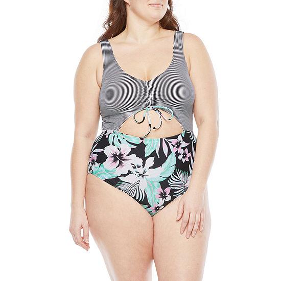 Decree  Tie Front Womens Floral One Piece Swimsuit Juniors Plus
