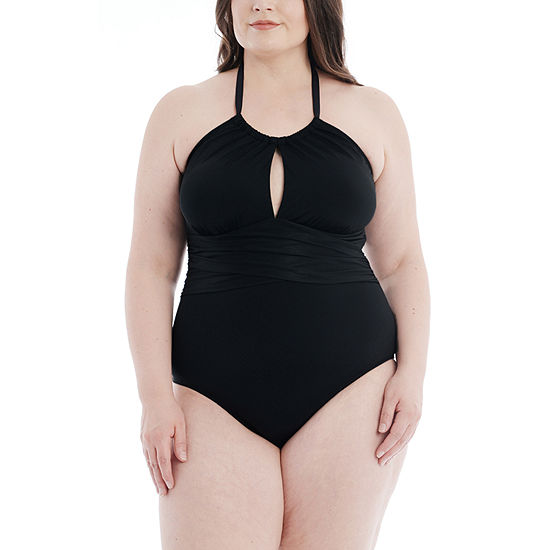 Mynah Wrap Front Womens One Piece Swimsuit Plus