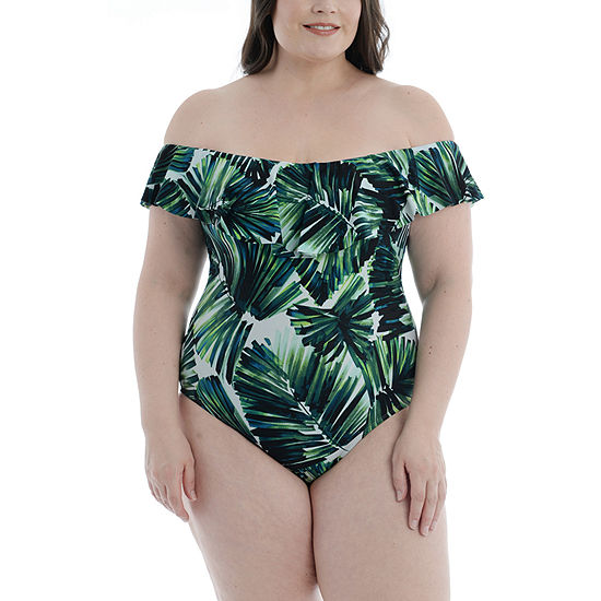 Mynah Womens Tropical Leaf One Piece Swimsuit Plus