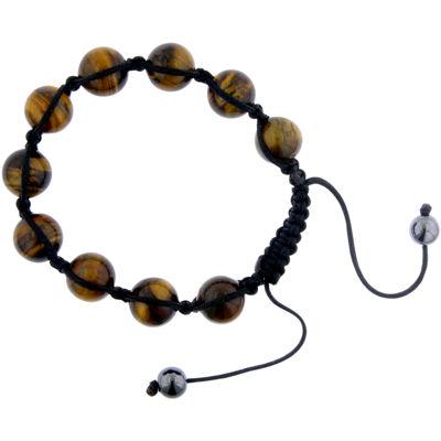 Mens Simulated Tiger's Eye Bead Shamballa Bracelet