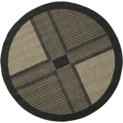 Safavieh Courtyard Collection Bronagh Geometric Indoor/Outdoor Round Area Rug