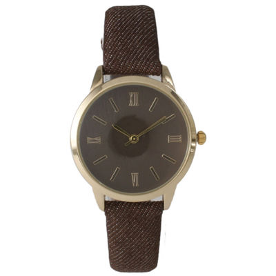 Olivia Pratt Womens Gold-Tone Brown Denim Faux Leather Strap Watch 14086
