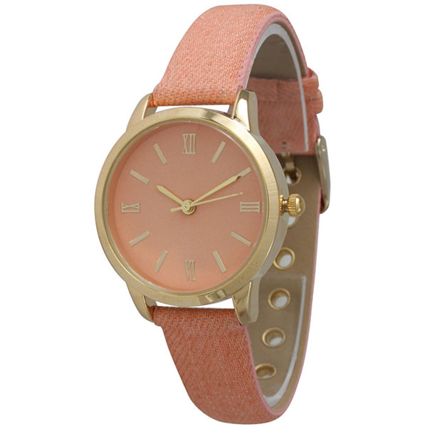 Olivia Pratt Womens Gold-Tone Coral Denim Faux Leather Strap Watch 14086