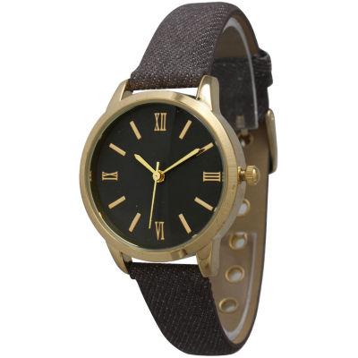 Olivia Pratt Womens Gold-Tone Grey Denim Faux Leather Strap Watch 14086