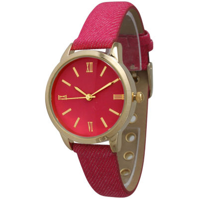 Olivia Pratt Womens Gold-Tone Hot Pink Denim Faux Leather Strap Watch 14086