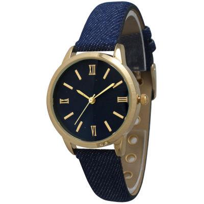 Olivia Pratt Womens Gold-Tone Navy Denim Faux Leather Strap Watch 14086