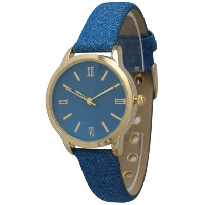 Olivia Pratt Womens Gold-Tone Royal Blue Denim Faux Leather Strap Watch 14086