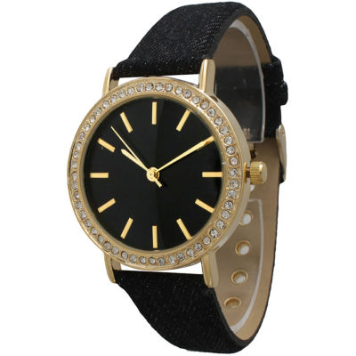 Olivia Pratt Womens Gold-Tone Rhinestone Accent Black Denim Faux Leather Strap Watch 14087