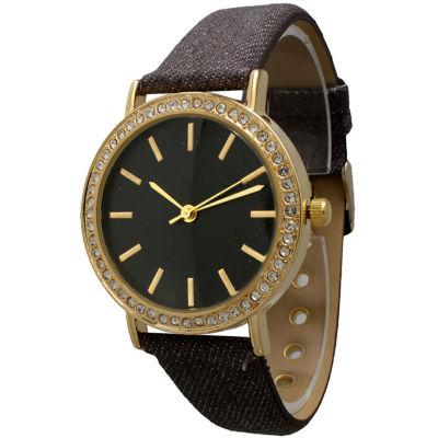 Olivia Pratt Womens Gold-Tone Rhinestone Accent Grey Denim Faux Leather Strap Watch 14087