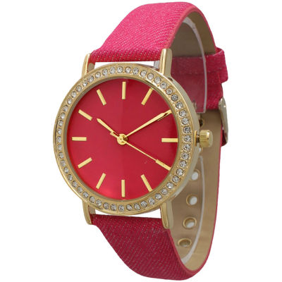 Olivia Pratt Womens Gold-Tone Rhinestone Accent Hot Pink Denim Faux Leather Strap Watch 14087