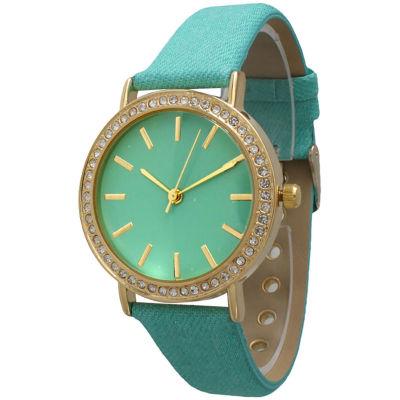 Olivia Pratt Womens Gold-Tone Rhinestone Accent Mint Denim Faux Leather Strap Watch 14087