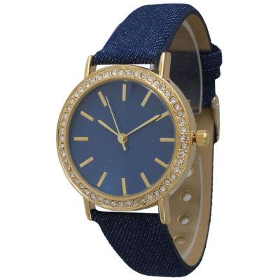 Olivia Pratt Womens Gold-Tone Rhinestone Accent Navy Denim Faux Leather Strap Watch 14087