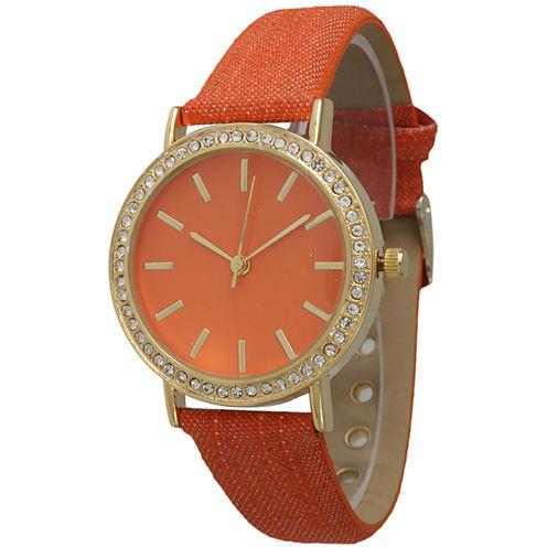Olivia Pratt Womens Gold-Tone Rhinestone Accent Orange Denim Faux Leather Strap Watch 14087