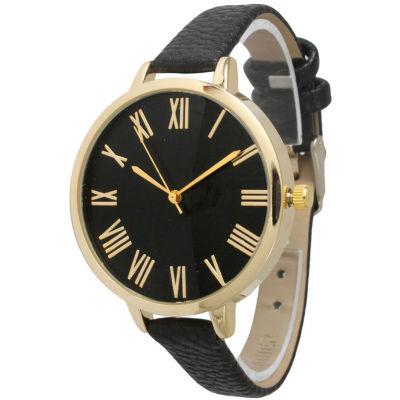 Olivia Pratt Womens Gold-Tone Black Leather Strap Watch 14095
