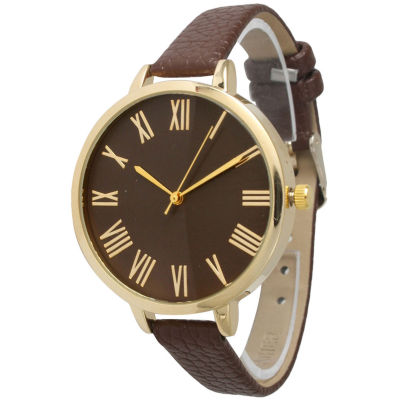 Olivia Pratt Womens Gold-Tone Brown Leather Strap Watch 14095