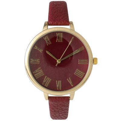 Olivia Pratt Womens Gold-Tone Burgundy Leather Strap Watch 14095