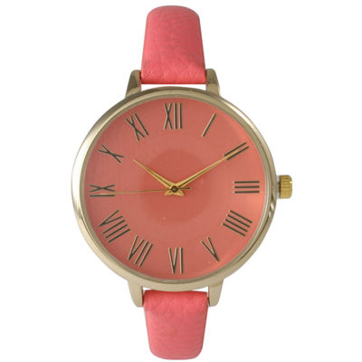 Olivia Pratt Womens Gold-Tone Coral Leather Strap Watch 14095