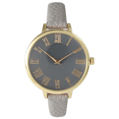 Olivia Pratt Womens Gold-Tone Gray Leather Strap Watch 14095