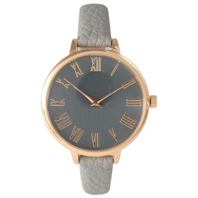 Olivia Pratt Womens Rose Gold-Tone Grey Leather Strap Watch 14095