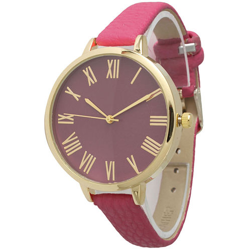 Olivia Pratt Womens Gold-Tone Hot-Pink Leather Strap Watch 14095