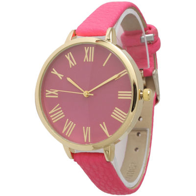 Olivia Pratt Womens Gold-Tone Light Pink Leather Strap Watch 14095
