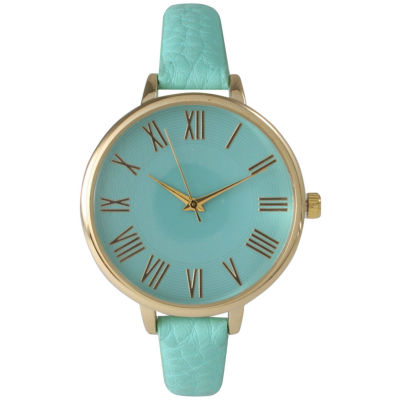 Olivia Pratt Womens Gold-Tone Mint Leather Strap Watch 14095