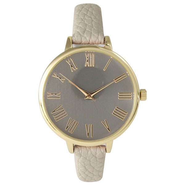 Olivia Pratt Womens Gold-Tone Taupe Leather Strap Watch 14095
