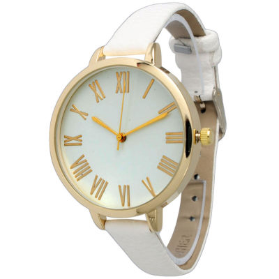 Olivia Pratt Womens Gold-Tone White Leather Strap Watch 14095