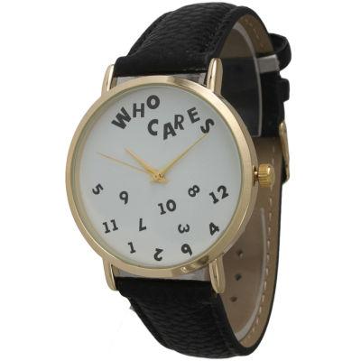 Olivia Pratt Womens Gold-Tone White Dial White Leather Strap Watch 14164