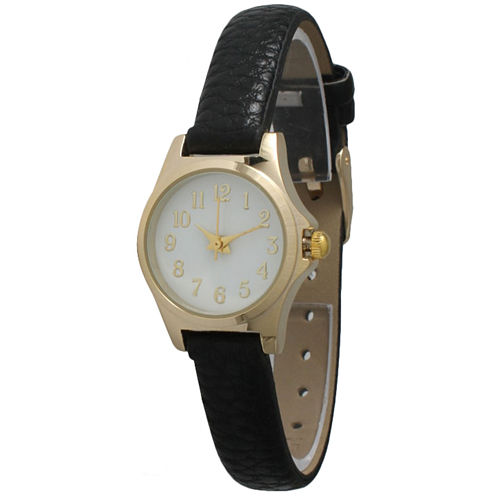Olivia Pratt Womens Gold-Tone Floral Print Dial with Black Leather Strap Watch