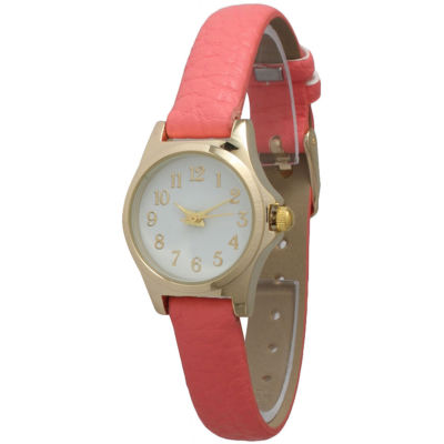 Olivia Pratt Womens Gold-Tone Floral Print Dial with Coral Leather Strap Watch
