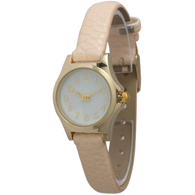 Olivia Pratt Womens Gold-Tone Floral Print Dial with Cream Leather Strap Watch