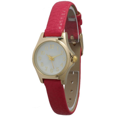 Olivia Pratt Womens Gold-Tone Floral Print Dial with Pink Leather Strap Watch 14181