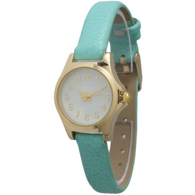Olivia Pratt Womens Gold-Tone Multi-Color Floral Print Dial with Mint Leather Strap Watch 14181