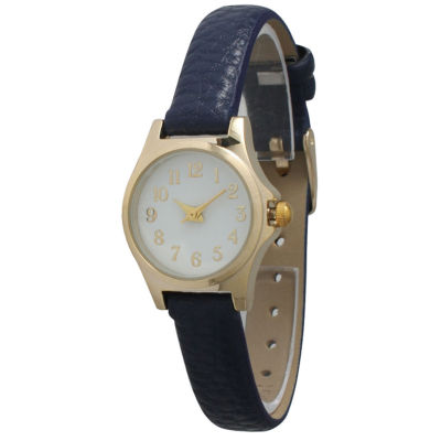 Olivia Pratt Womens Gold-Tone White Dial with Navy Blue Croc-Embossed Leather Strap Watch 14328