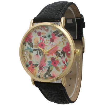 Olivia Pratt Womens Gold-Tone Multicolor Dial with Black Croc-Embossed Leather Strap Watch 14328