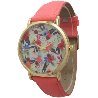 Olivia Pratt Womens Gold-Tone Multi-Color Floral Print Dial with Coral Leather Strap Watch 14181