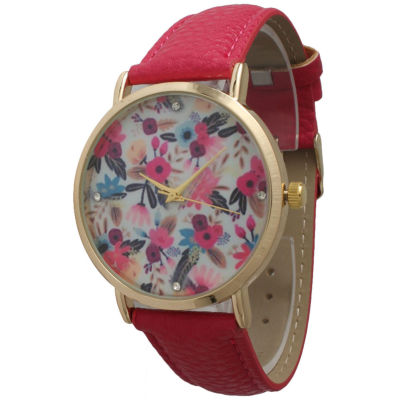 Olivia Pratt Womens Gold-Tone Multi-Color Floral Print Dial with Hot Pink Leather Strap Watch 14181