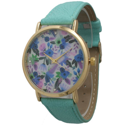 Olivia Pratt Womens Gold-Tone Multi-Color Floral Print Dial Mint Leather Strap Watch 14181