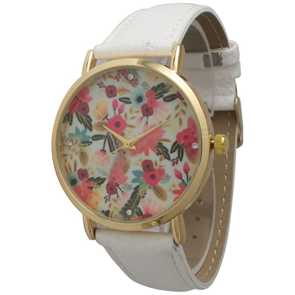 Olivia Pratt Womens Gold-Tone Multi-Color Floral Print Dial White Leather Strap Watch 14181