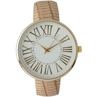 Olivia Pratt Womens Gold-Tone White Dial Beige Croc-Embossed Leather Strap Watch 14328