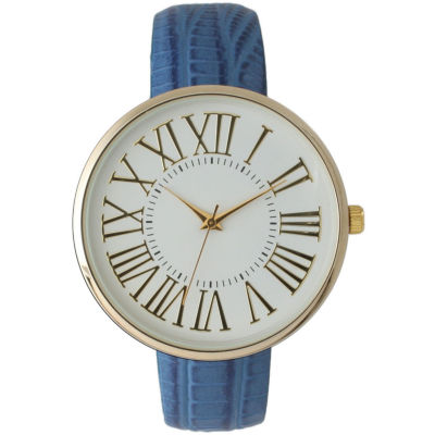 Olivia Pratt Womens Gold-Tone White Dial Blue Croc-Embossed Leather Strap Watch 14328